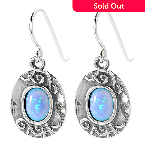 134-163 - Passage to Israel Sterling Silver 1'' Simulated Opal Hammered Swirl Drop Earrings