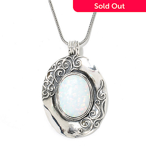 134-164 - Passage to Israel™ Sterling Silver 20 x 15mm Simulated Opal Pendant w/ Chain