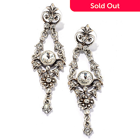 134-178 - Sweet Romance™ 2.5'' Crystal Textured Floral Drop Earrings