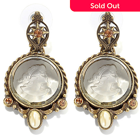 134-179 - Sweet Romance 1.75'' Crystal & Glass Intaglio Drop Earrings