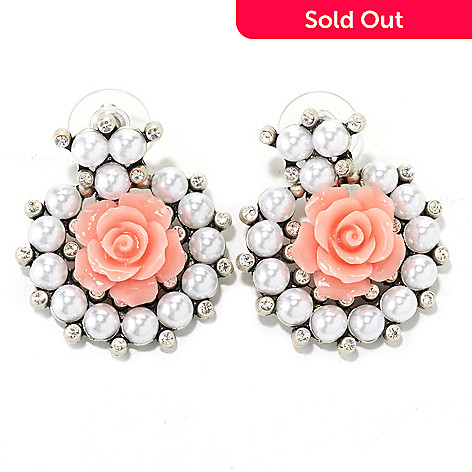 134-181 - Sweet Romance 1.5'' Crystal, Glass & Resin Rose Collar Earrings