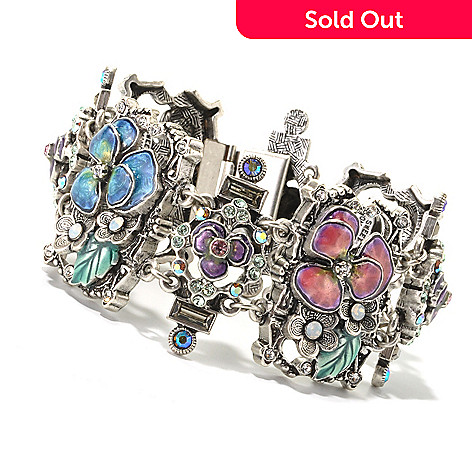 134-187 - Sweet Romance 7.5'' Multi Color Crystal & Enamel Pansy Bracelet