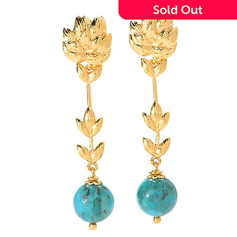 134-202 - Toscana Italiana 18K Gold Embraced™ 2'' Turquoise Elongated Leaf Drop Earrings