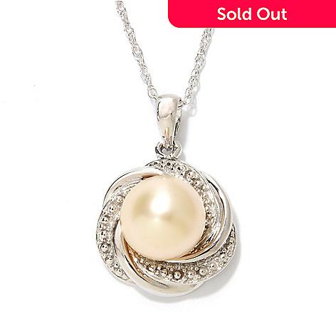 "134-205 - Sterling Silver 9-10mm Semi-Round Golden South Sea Cultured Pearl Pendant w/ 18"" Chain"