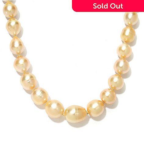 134-206 - 18'' 10-12mm Baroque Golden South Sea Cultured Pearl Necklace w/ Magnetic Clasp