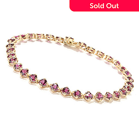 134-216 - Gem Treasures 14K Gold Cushion Cut Brazilian Garnet Link Bracelet