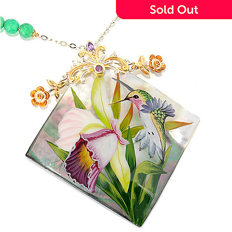 134-220 - Gems en Vogue II 50mm Hand-Painted Mother-of-Pearl Hummingbird Toggle Necklace