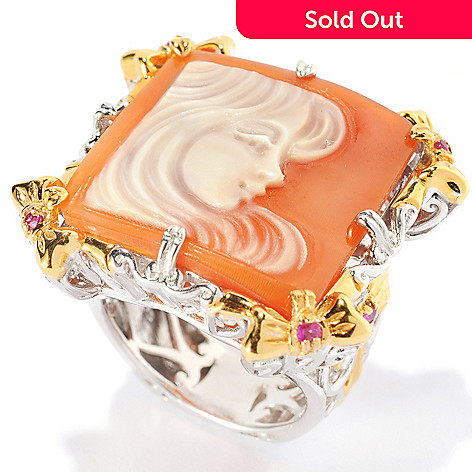 134-222 - Gems en Vogue 20mm Hand-Carved Shell Modern Portrait Cameo & Pink Sapphire Ring