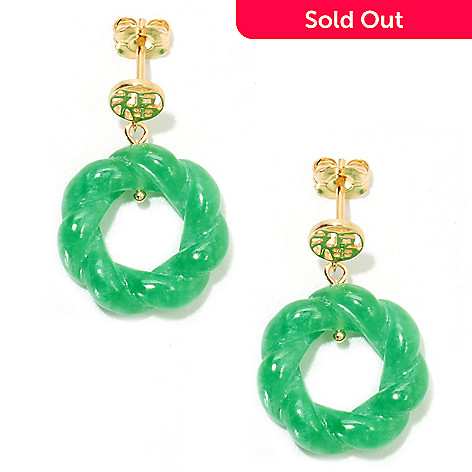 134-229 - 1'' 18mm Carved Green Jade Round Twist Drop Earrings