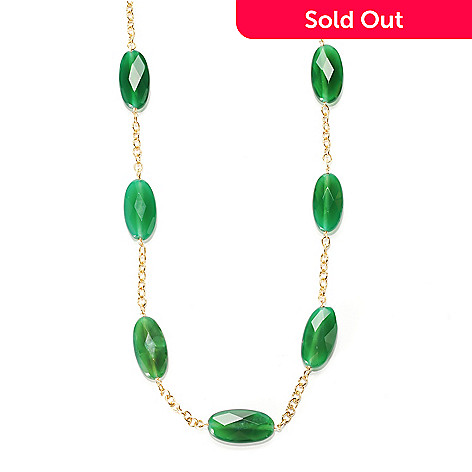 134-236 - 36'' 30 x 15mm Faceted Oval Green Agate Circle Link Station Necklace