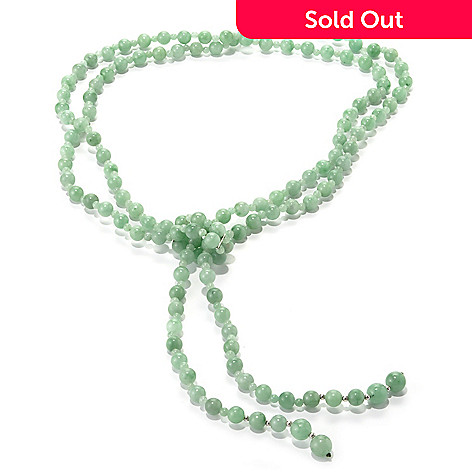 134-242 - Sterling Silver 28'' Green Jade Double Strand Lariat Necklace