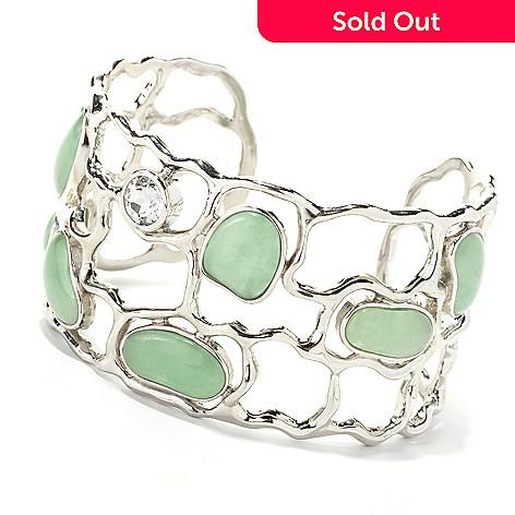 134-243 - Sterling Silver 7.5'' Freeform Green Jade & White Topaz Open Cuff Bracelet