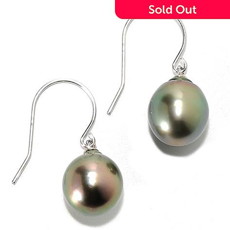 134-244 - Sterling Silver 1'' 10mm Semi-Baroque Black Tahitian Cultured Pearl Drop Earrings