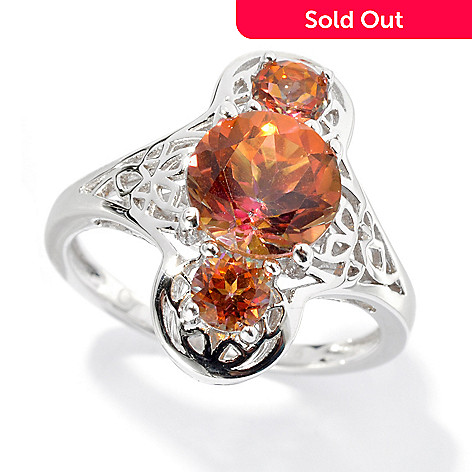 134-261 - Gem Treasures® Sterling Silver 2.21ctw Topaz ''Kellie Anne'' Three-Stone Ring