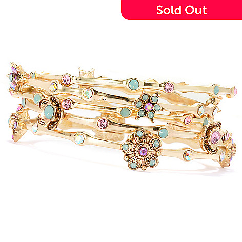 134-263 - Sweet Romance Set of Five Multi Crystal Floral Station Bangle Bracelets