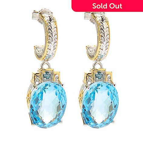 134-281 - Gems en Vogue 24.08ctw Oval Swiss Blue Topaz & London Blue Topaz Drop Earrings