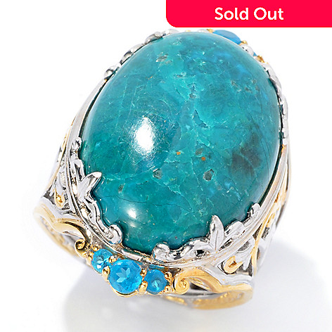 134-289 - Gems en Vogue 25 x 18mm Oval Chrysocolla & Neon Blue Apatite Ring