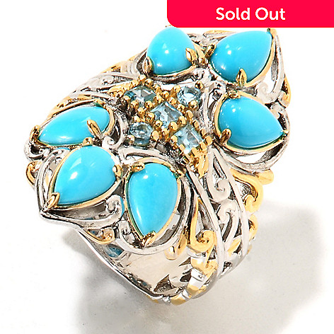 134-290 - Gems en Vogue Pear Shaped Sleeping Beauty Turquoise & Swiss Blue Topaz Ring