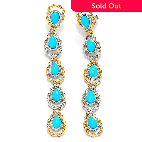 134-291 - Gems en Vogue 2.5'' 6 x 4mm Sleeping Beauty Turquoise Drop Earrings