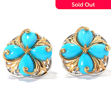 134-293 - Gems en Vogue Pear Shaped Sleeping Beauty Turquoise Pinwheel Button Earrings