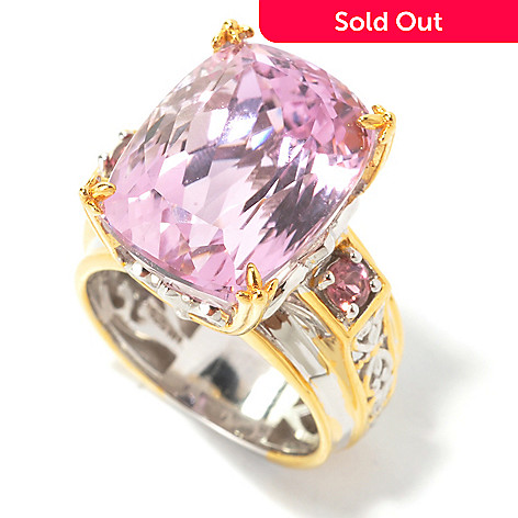 134-296 - Gems en Vogue II 12.16ctw Cushion Cut Kunzite & Pink Tourmaline Ring