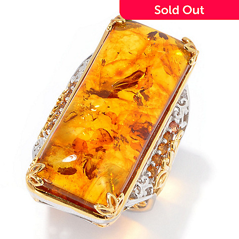 134-304 - Gems en Vogue 35 x 14mm Amber & Madeira Citrine Elongated Ring