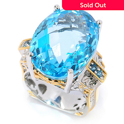 134-308 - Gems en Vogue 30.96ctw Oval Swiss Blue Topaz & London Blue Topaz Ring