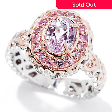 134-311 - Gems en Vogue 1.71ctw Kunzite & Pink Sapphire Halo Ring
