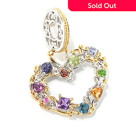 134-313 - Gems en Vogue Multi Gemstone ''Carnaval'' Heart Drop Charm