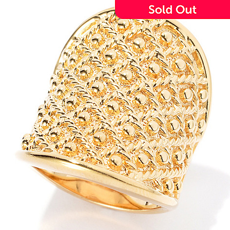 134-328 - Jaipur Jewelry Bazaar™ Gold Embraced™ Textured & Beaded Wide Band Ring