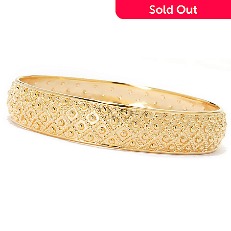134-329 - Jaipur Jewelry Bazaar™ Gold Embraced™ 8'' Textured & Beaded Slip-on Bangle Bracelet