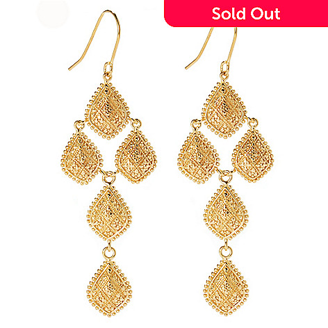 134-331 - Jaipur Jewelry Bazaar™ 18K Gold Embraced™ 2.75'' Textured & Beaded Chandelier Earrings