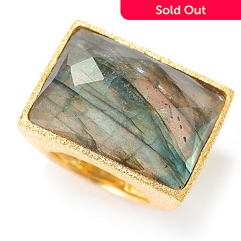 134-342 - Portofino 18K Gold Embraced™ 25 x 18mm Labradorite Textured Ring