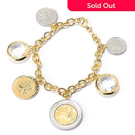 134-351 - Portofino 18K Gold Embraced™ 8'' Multi Italian Lire Coin & Quartz Charm Bracelet