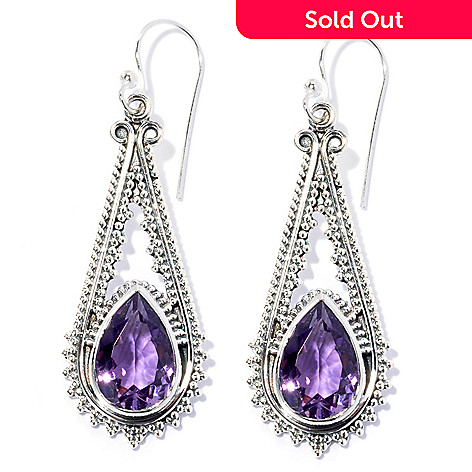 134-357 - Artisan Silver by Samuel B. 1.75'' 12x8mm Pear Shaped Gemstone Textured Drop Earrings
