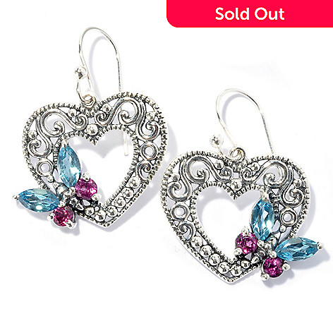 134-358 - Artisan Silver by Samuel B. 1'' Topaz & Rhodolite Butterfly & Heart Drop Earrings