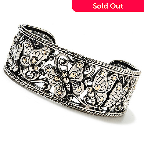 134-359 - Artisan Silver by Samuel B. 6.5'' Polished Butterfly Cuff Bracelet, 43.24 grams