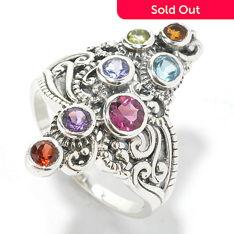 134-360 - Artisan Silver by Samuel B. Multi Gemstone Textured North-South Ring