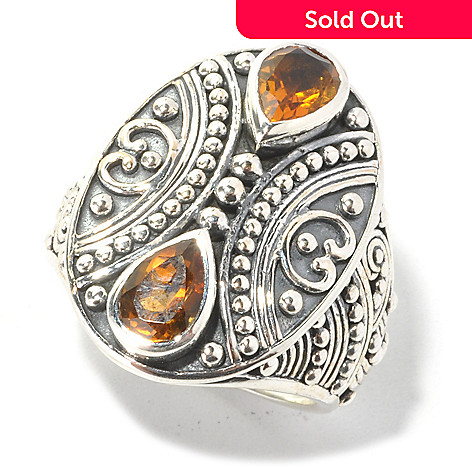 134-361 - Artisan Silver by Samuel B. 7 x 5mm Citrine Multi Textured Oval Ring