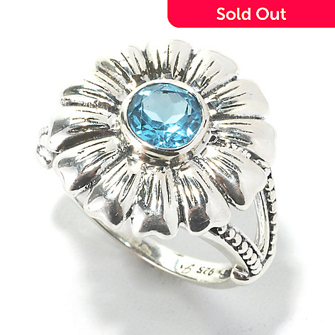 134-364 - Artisan Silver by Samuel B. Blue Topaz Textured Split Shank Flower Ring