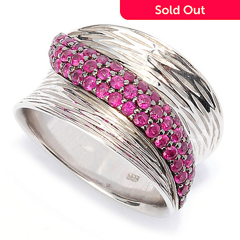 134-365 - Artisan Silver by Samuel B. Pave Set Gemstone Textured Concave Band Ring