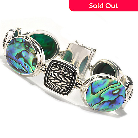 134-367 - Artisan Silver by Samuel B. 7.25'' 22 x 15mm Abalone & Textured Station Bracelet