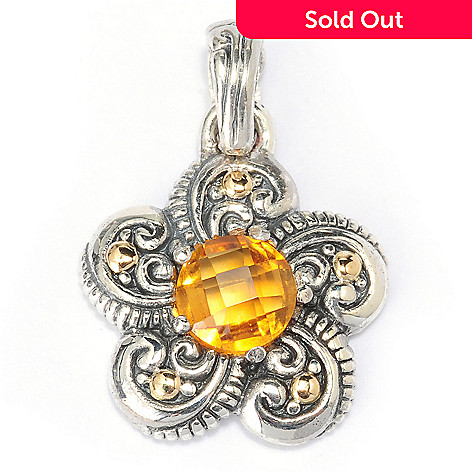 134-368 - Artisan Silver by Samuel B. 6mm Checkerboard Cut Gemstone Charm Pendant