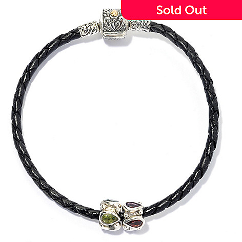 134-372 - Artisan Silver by Samuel B. 7.5'' Multi Gemstone Textured Bead Braided Bracelet