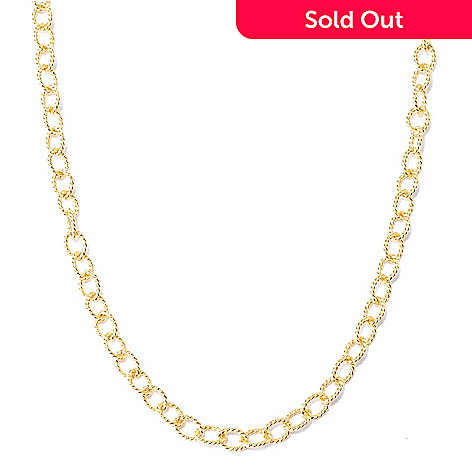 134-375 - Portofino 18K Gold Embraced™ Textured Rolo Link Necklace