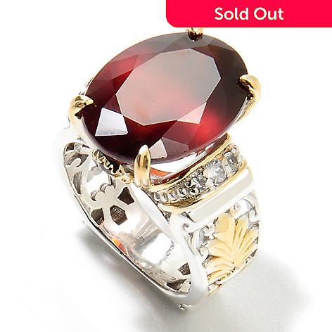134-376 - Gems en Vogue 9.78ctw Oval Hessonite, Garnet & White Zircon Ring