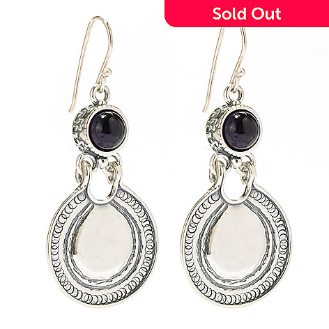 134-390 - Passage to Israel Sterling Silver 4.58ctw Amethyst 1.25'' Large Disk Drop Earrings