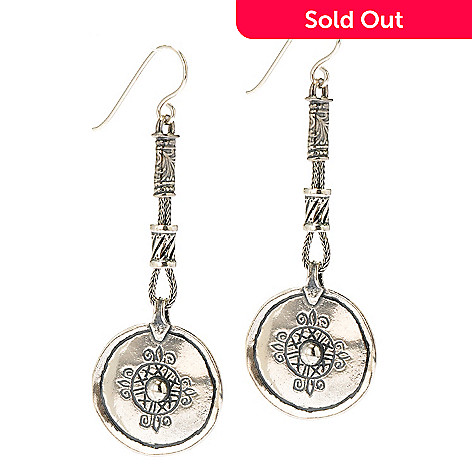 134-391 - Passage to Israel Sterling Silver 2.75'' Textured Rope & Circle Drop Earrings
