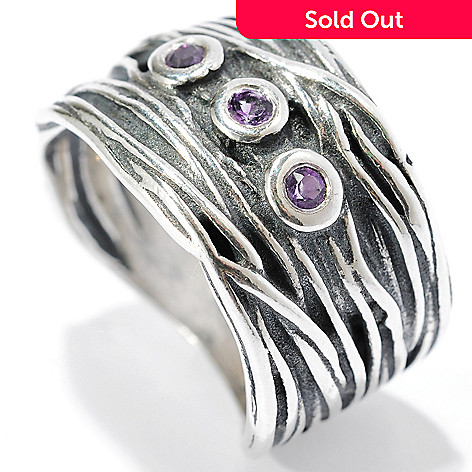134-395 - Passage to Israel™ Sterling Silver Bezel Set Amethyst Three-Stone Textured Band Ring