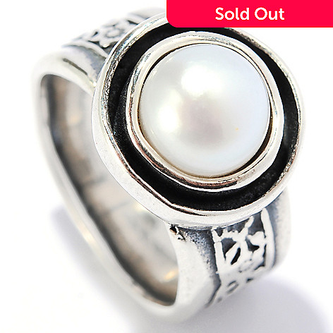 134-397 - Passage to Israel™ Sterling Silver 8mm Freshwater Cultured Pearl Floral Shank Ring